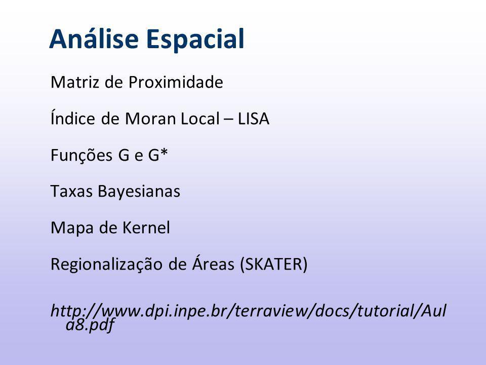 Análise Espacial Matriz de Proximidade Índice de Moran Local – LISA Funções G e G* Taxas Bayesianas Mapa de Kernel Regionalização de Áreas (SKATER) http://www.dpi.inpe.br/terraview/docs/tutorial/Aul a8.pdf