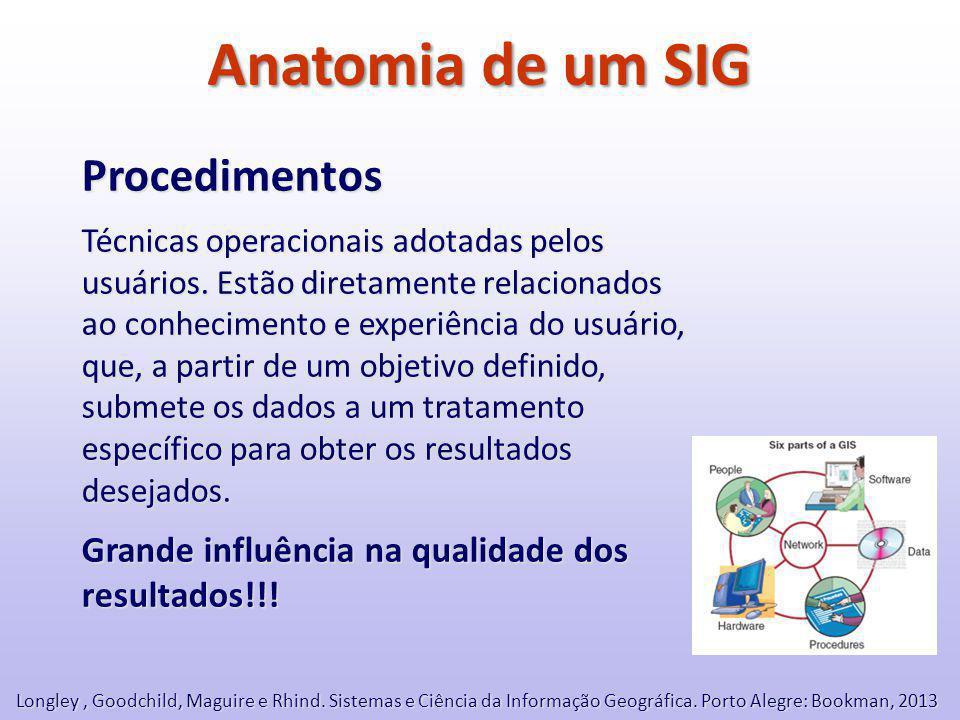 Anatomia de um SIG Procedimentos Técnicas operacionais adotadas pelos usuários.