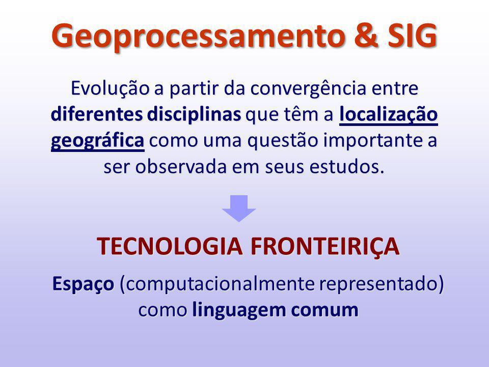 Geoprocessamento & SIG Evolução a partir da convergência entre diferentes disciplinas que têm a localização geográfica como uma questão importante a ser observada em seus estudos.