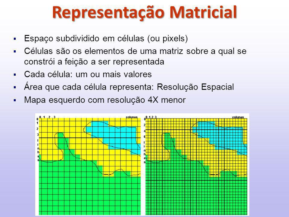  Espaço subdividido em células (ou pixels)  Células são os elementos de uma matriz sobre a qual se constrói a feição a ser representada  Cada célula: um ou mais valores  Área que cada célula representa: Resolução Espacial  Mapa esquerdo com resolução 4X menor Representação Matricial