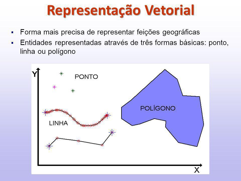  Forma mais precisa de representar feições geográficas  Entidades representadas através de três formas básicas: ponto, linha ou polígono Representação Vetorial