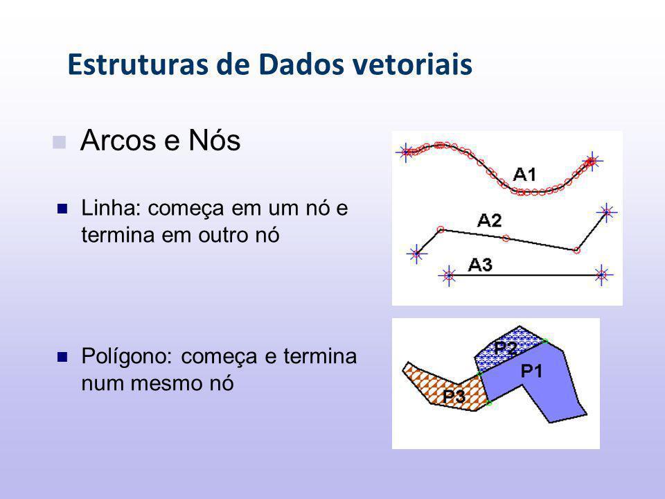 Estruturas de Dados vetoriais Polígono: começa e termina num mesmo nó Arcos e Nós Linha: começa em um nó e termina em outro nó