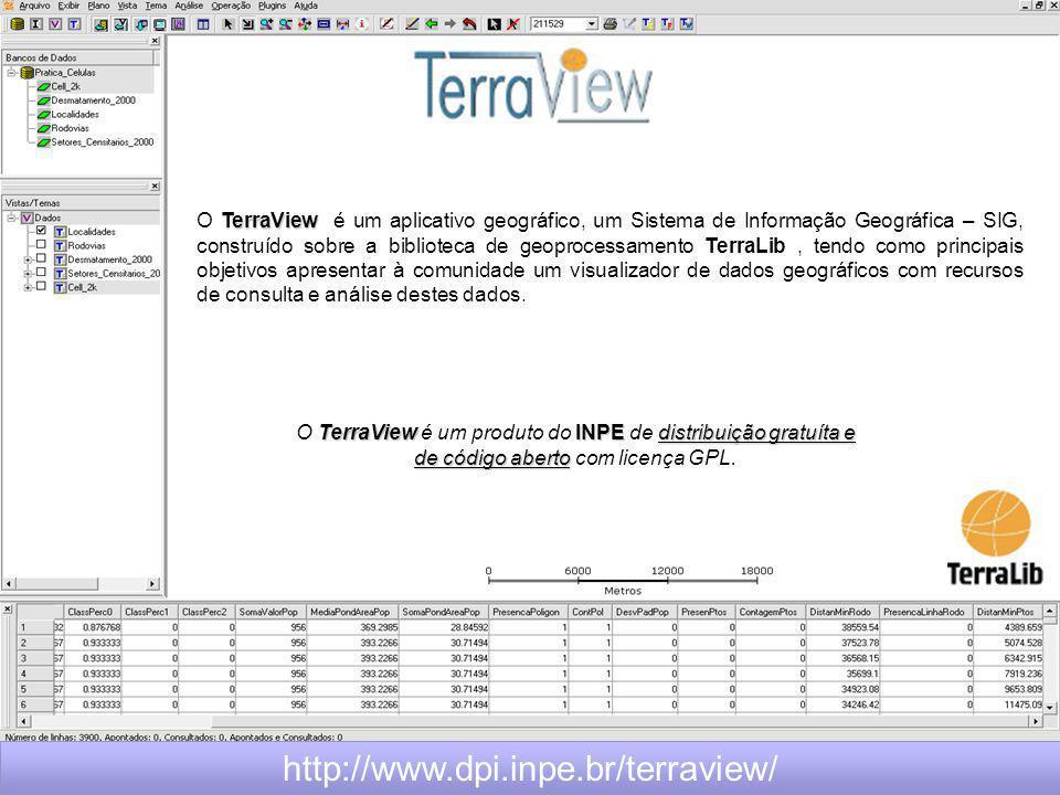TerraView O TerraView é um aplicativo geográfico, um Sistema de Informação Geográfica – SIG, construído sobre a biblioteca de geoprocessamento TerraLib, tendo como principais objetivos apresentar à comunidade um visualizador de dados geográficos com recursos de consulta e análise destes dados.