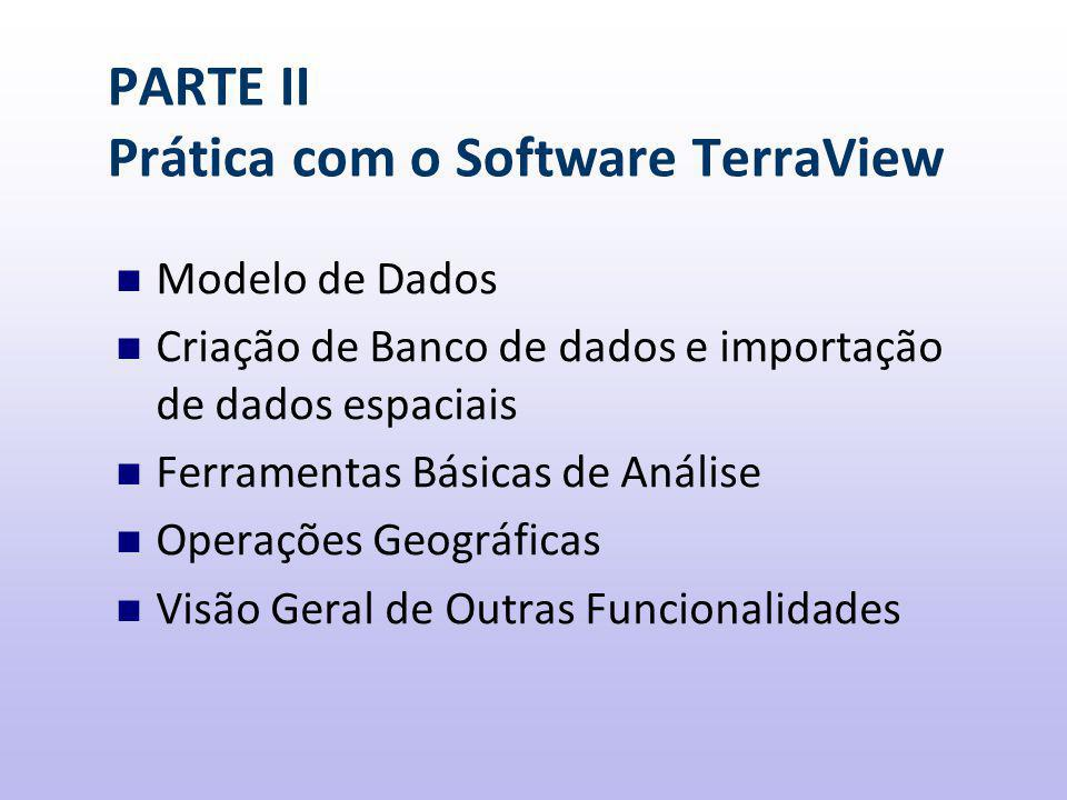 PARTE II Prática com o Software TerraView Modelo de Dados Criação de Banco de dados e importação de dados espaciais Ferramentas Básicas de Análise Operações Geográficas Visão Geral de Outras Funcionalidades