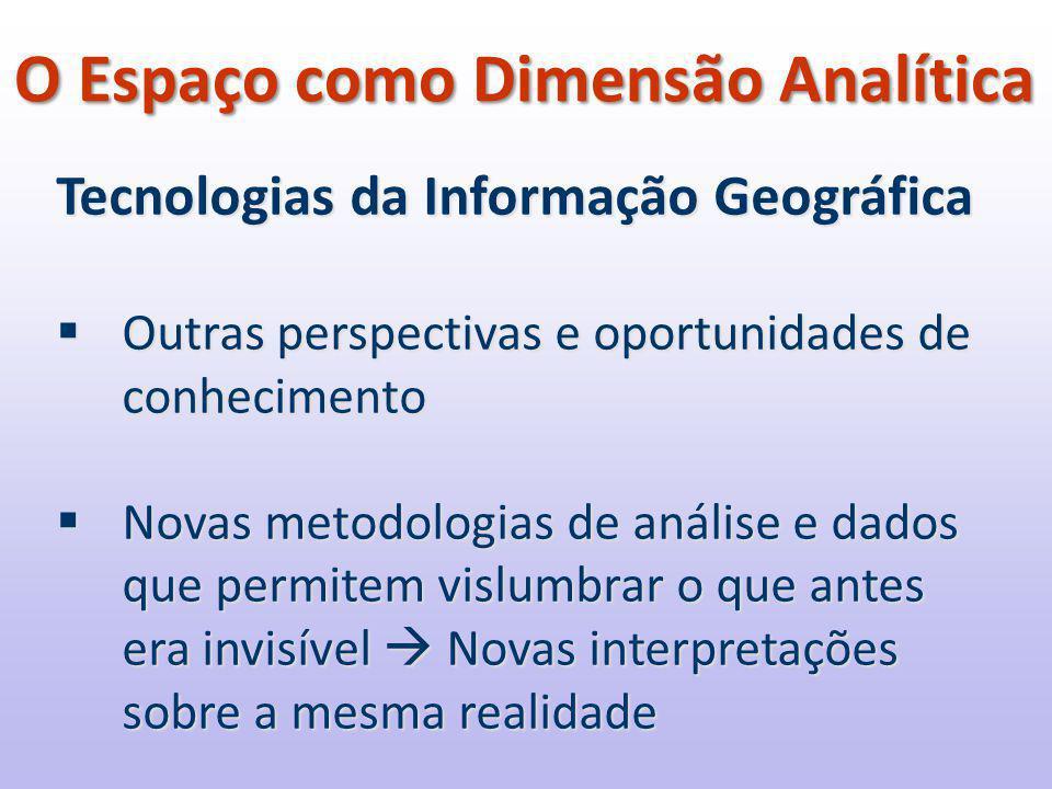 Tecnologias da Informação Geográfica  Outras perspectivas e oportunidades de conhecimento  Novas metodologias de análise e dados que permitem vislumbrar o que antes era invisível  Novas interpretações sobre a mesma realidade O Espaço como Dimensão Analítica