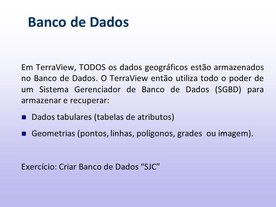 Banco de Dados Em TerraView, TODOS os dados geográficos estão armazenados no Banco de Dados.