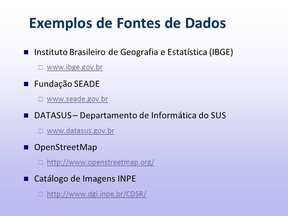 Exemplos de Fontes de Dados Instituto Brasileiro de Geografia e Estatística (IBGE)  www.ibge.gov.br www.ibge.gov.br Fundação SEADE  www.seade.gov.br www.seade.gov.br DATASUS – Departamento de Informática do SUS  www.datasus.gov.br www.datasus.gov.br OpenStreetMap  http://www.openstreetmap.org/ http://www.openstreetmap.org/ Catálogo de Imagens INPE  http://www.dgi.inpe.br/CDSR/ http://www.dgi.inpe.br/CDSR/