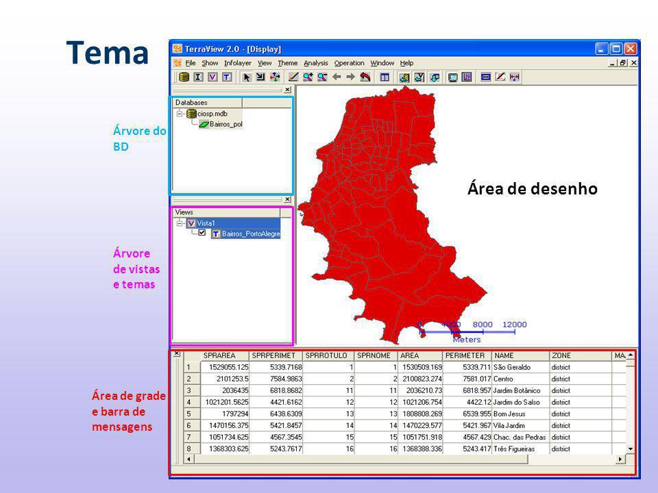 Tema Área de desenho Área de grade e barra de mensagens Árvore do BD Árvore de vistas e temas
