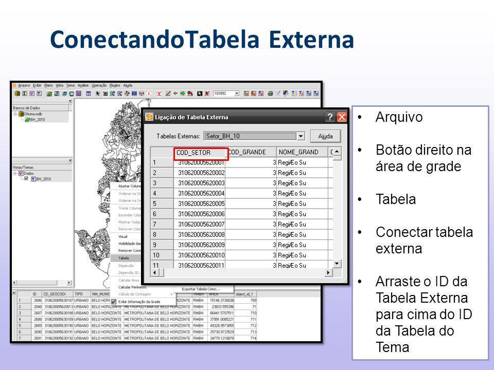 ConectandoTabela Externa Arquivo Botão direito na área de grade Tabela Conectar tabela externa Arraste o ID da Tabela Externa para cima do ID da Tabela do Tema