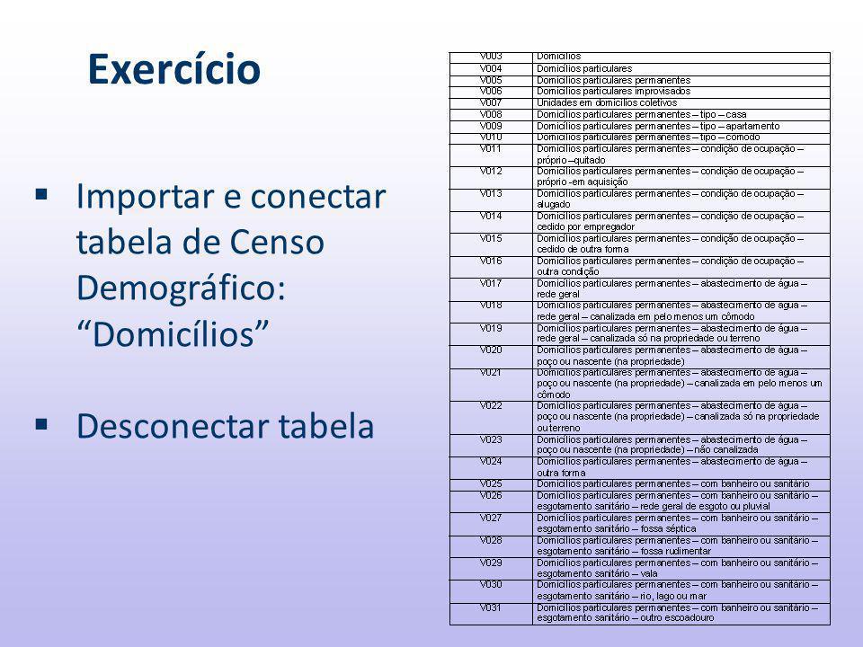 Exercício  Importar e conectar tabela de Censo Demográfico: Domicílios  Desconectar tabela