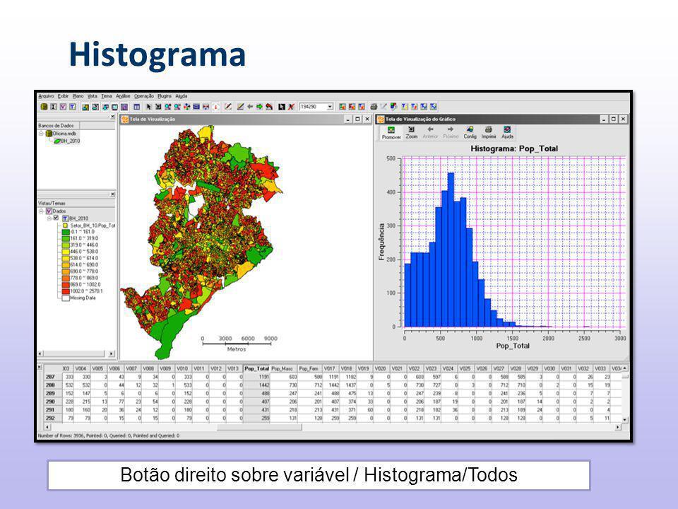 Histograma Botão direito sobre variável / Histograma/Todos