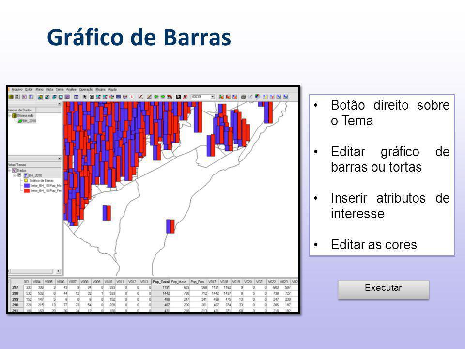 Gráfico de Barras Botão direito sobre o Tema Editar gráfico de barras ou tortas Inserir atributos de interesse Editar as cores Executar