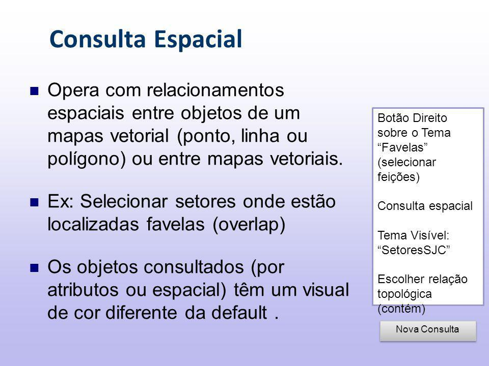 Consulta Espacial Botão Direito sobre o Tema Favelas (selecionar feições) Consulta espacial Tema Visível: SetoresSJC Escolher relação topológica (contém) Nova Consulta Opera com relacionamentos espaciais entre objetos de um mapas vetorial (ponto, linha ou polígono) ou entre mapas vetoriais.
