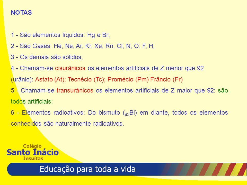 Educação para toda a vida Colégio Santo Inácio Jesuítas NOTAS 1 - São elementos líquidos: Hg e Br; 2 - São Gases: He, Ne, Ar, Kr, Xe, Rn, Cl, N, O, F,