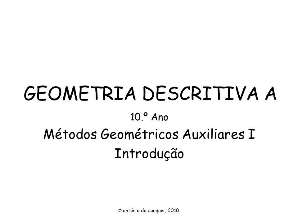 GENERALIDADES Os métodos geométricos auxiliares permitem obter uma representação mais conviniente de um determinado objecto, para assim poder resolver problemas e situações que a representação inicial não nos permite.