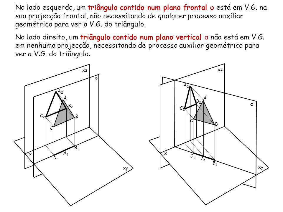 No lado esquerdo, um triângulo contido num plano frontal φ está em V.G. na sua projecção frontal, não necessitando de qualquer processo auxiliar geomé