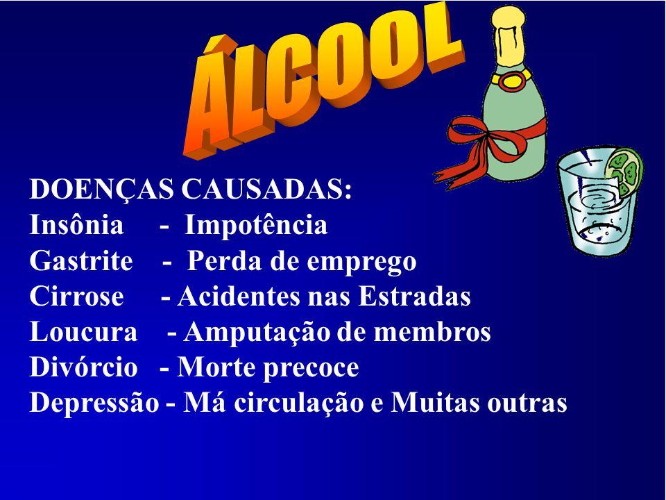 A - CERVEJA = 5 A 10% B - VINHO = 10 A 15% C - CACHAÇA = 50 A 65% D - WISQUE = 40 A 55% ( O Álcool ao ser ingerido, cerca de 2 a 5 minutos ele já afet