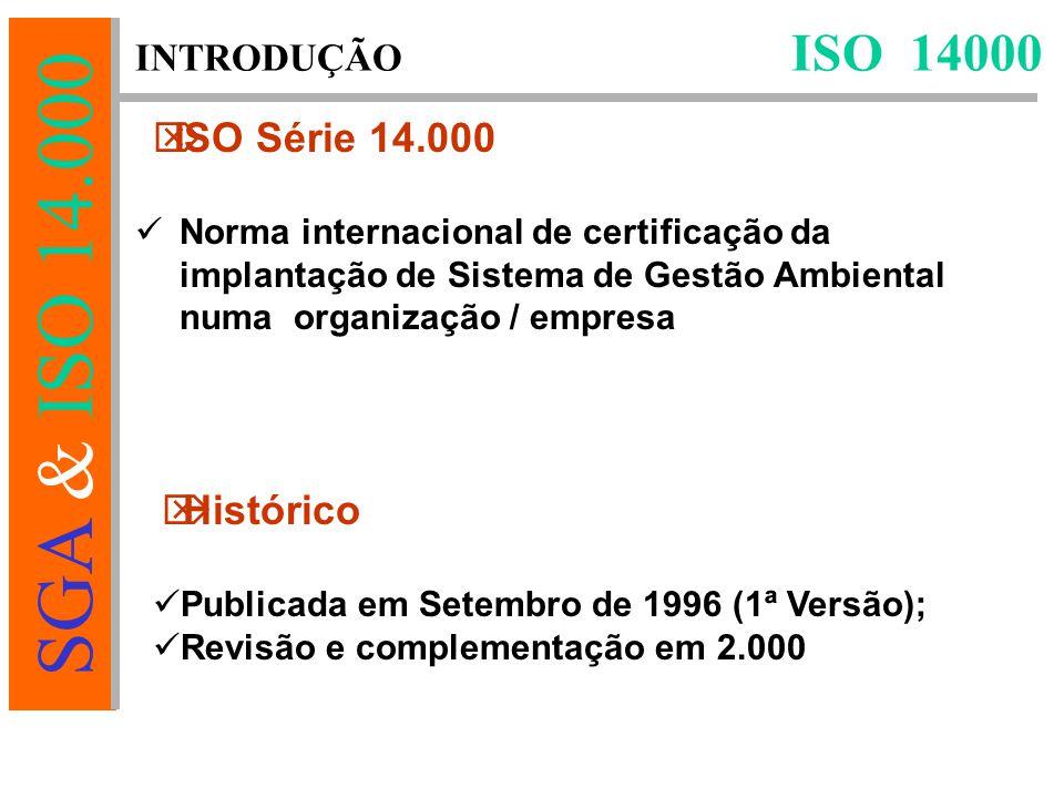 SGA & ISO 14.000 Norma internacional de certificação da implantação de Sistema de Gestão Ambiental numa organização / empresa Publicada em Setembro de 1996 (1ª Versão); Revisão e complementação em 2.000 ISO 14000 INTRODUÇÃO  ISO Série 14.000  Histórico