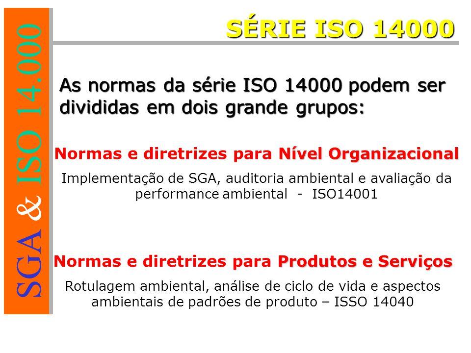SGA & ISO 14.000 As normas da série ISO 14000 podem ser divididas em dois grande grupos: Nível Organizacional Normas e diretrizes para Nível Organizacional Implementação de SGA, auditoria ambiental e avaliação da performance ambiental - ISO14001 Produtos e Serviços Normas e diretrizes para Produtos e Serviços Rotulagem ambiental, análise de ciclo de vida e aspectos ambientais de padrões de produto – ISSO 14040 SÉRIE ISO 14000