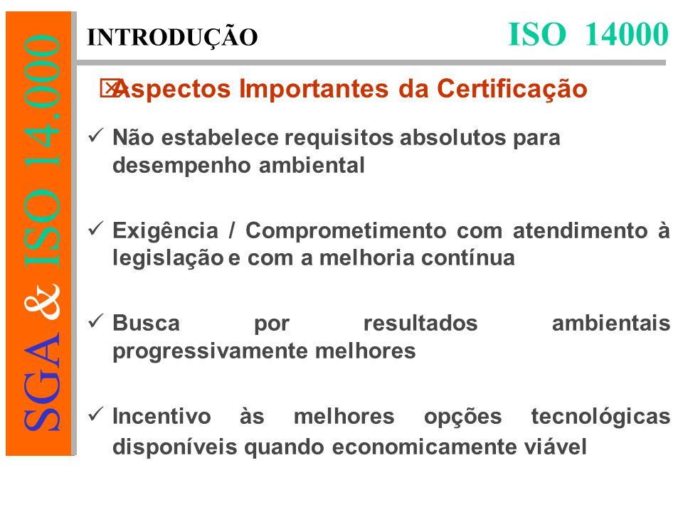 SGA & ISO 14.000 Não estabelece requisitos absolutos para desempenho ambiental Exigência / Comprometimento com atendimento à legislação e com a melhoria contínua Busca por resultados ambientais progressivamente melhores Incentivo às melhores opções tecnológicas disponíveis quando economicamente viável ISO 14000 INTRODUÇÃO  Aspectos Importantes da Certificação