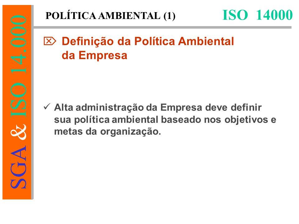 SGA & ISO 14.000 Alta administração da Empresa deve definir sua política ambiental baseado nos objetivos e metas da organização.