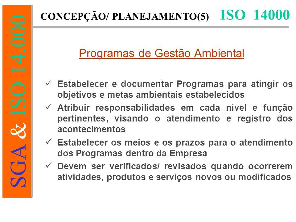 SGA & ISO 14.000 Estabelecer e documentar Programas para atingir os objetivos e metas ambientais estabelecidos Atribuir responsabilidades em cada nível e função pertinentes, visando o atendimento e registro dos acontecimentos Estabelecer os meios e os prazos para o atendimento dos Programas dentro da Empresa Devem ser verificados/ revisados quando ocorrerem atividades, produtos e serviços novos ou modificados ISO 14000 CONCEPÇÃO/ PLANEJAMENTO(5) Programas de Gestão Ambiental