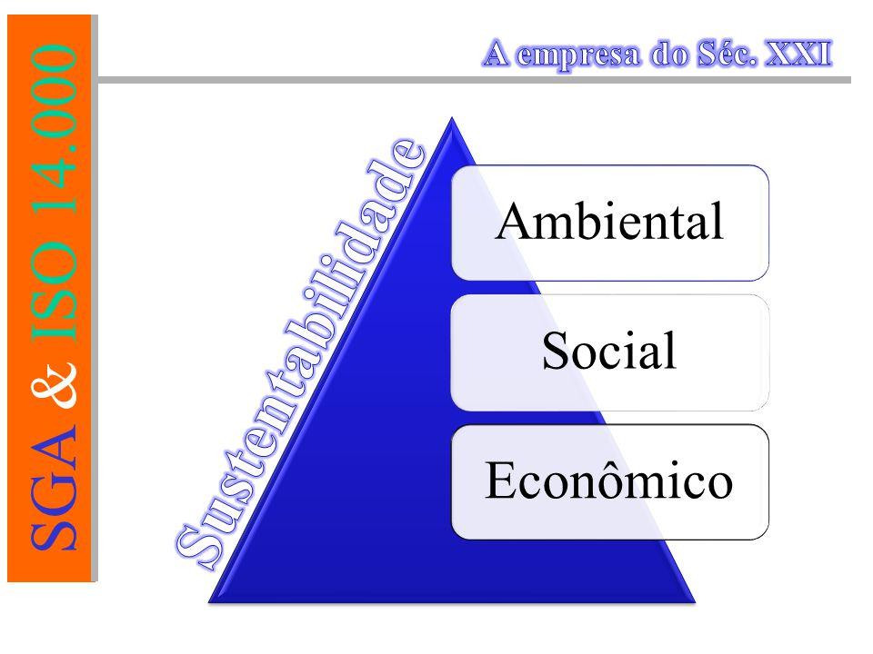 SGA & ISO 14.000 DESDOBRAMENTOS Redução de custos à médio prazo; Diminuição de acidentes ambientais; Melhoria no desempenho ambiental; Redução do Passivo Ambiental; Redução de processos legais; Minimização do risco de paralisação.