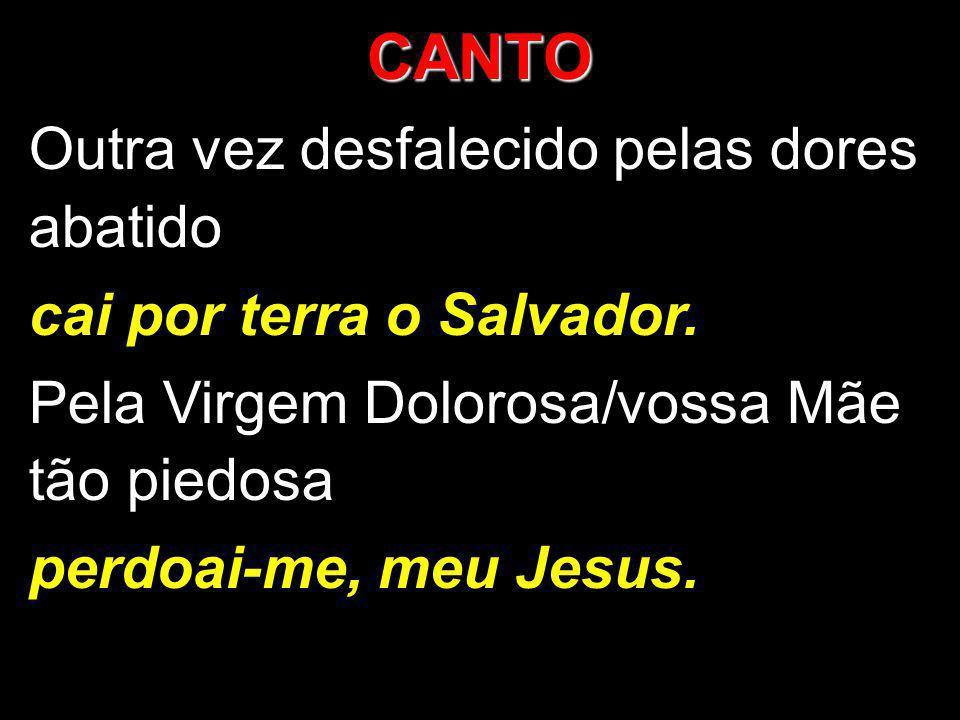 CANTO Outra vez desfalecido pelas dores abatido cai por terra o Salvador. Pela Virgem Dolorosa/vossa Mãe tão piedosa perdoai-me, meu Jesus.