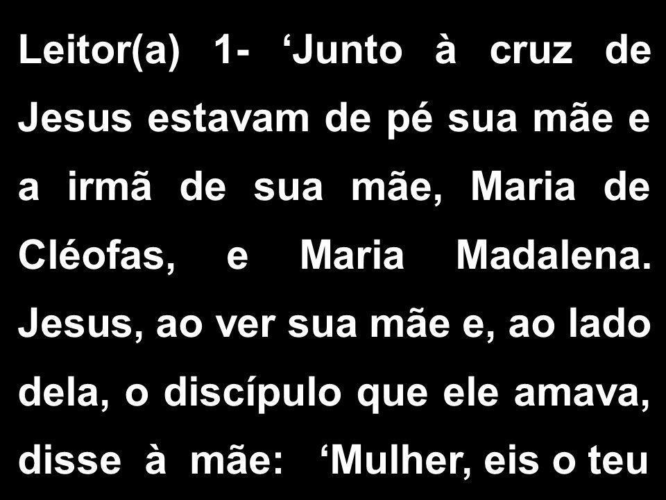 Leitor(a) 1- 'Junto à cruz de Jesus estavam de pé sua mãe e a irmã de sua mãe, Maria de Cléofas, e Maria Madalena. Jesus, ao ver sua mãe e, ao lado de