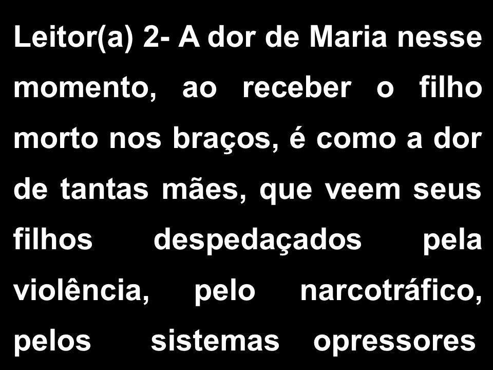 Leitor(a) 2- A dor de Maria nesse momento, ao receber o filho morto nos braços, é como a dor de tantas mães, que veem seus filhos despedaçados pela vi