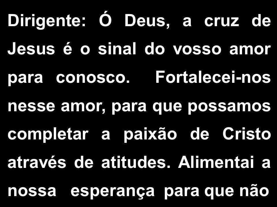 Dirigente: Ó Deus, a cruz de Jesus é o sinal do vosso amor para conosco. Fortalecei-nos nesse amor, para que possamos completar a paixão de Cristo atr