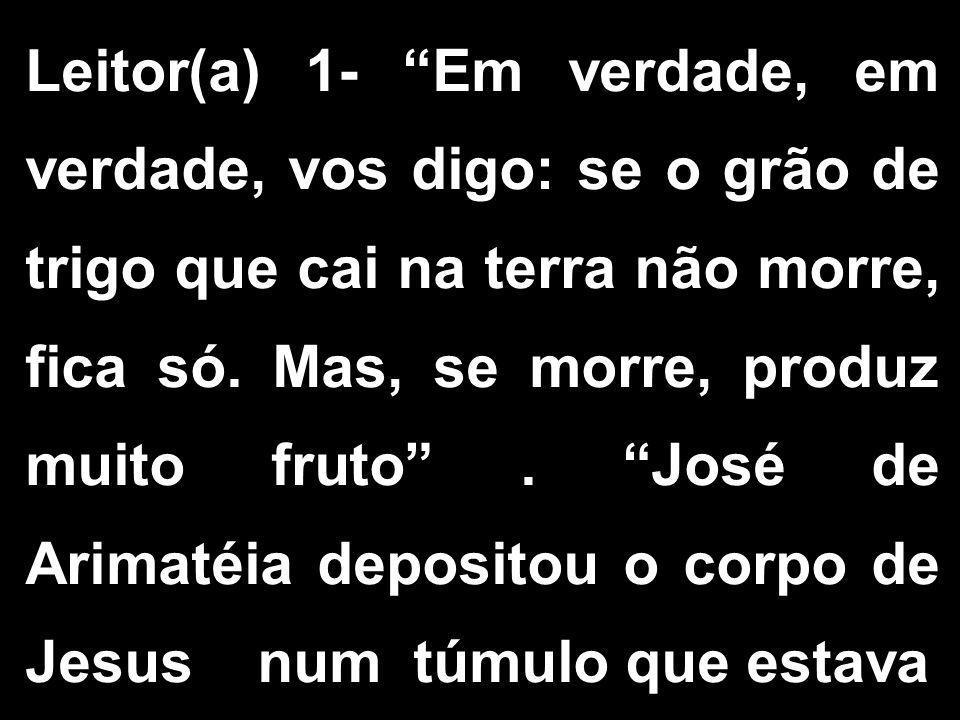 """Leitor(a) 1- """"Em verdade, em verdade, vos digo: se o grão de trigo que cai na terra não morre, fica só. Mas, se morre, produz muito fruto"""". """"José de A"""