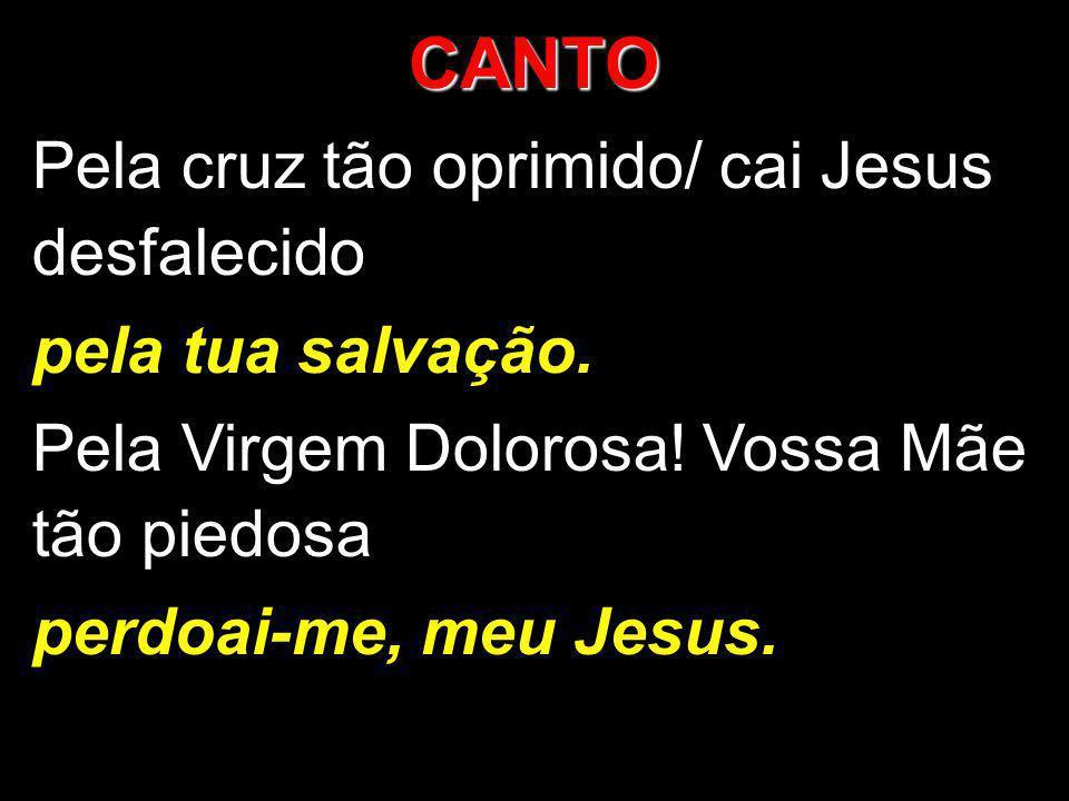CANTO Pela cruz tão oprimido/ cai Jesus desfalecido pela tua salvação. Pela Virgem Dolorosa! Vossa Mãe tão piedosa perdoai-me, meu Jesus.