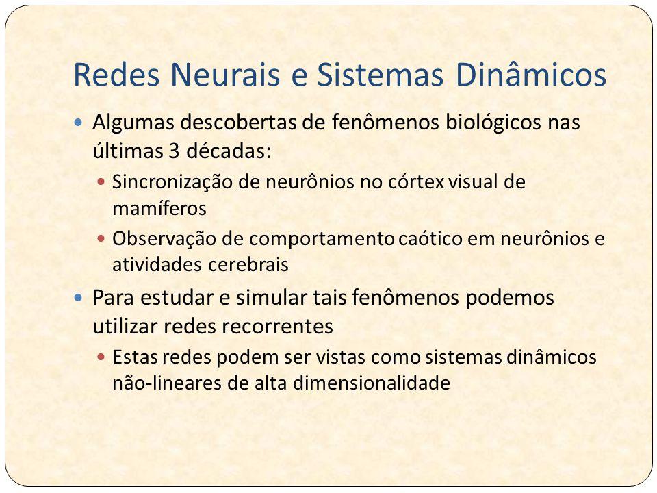 Redes Neurais e Sistemas Dinâmicos Algumas descobertas de fenômenos biológicos nas últimas 3 décadas: Sincronização de neurônios no córtex visual de mamíferos Observação de comportamento caótico em neurônios e atividades cerebrais Para estudar e simular tais fenômenos podemos utilizar redes recorrentes Estas redes podem ser vistas como sistemas dinâmicos não-lineares de alta dimensionalidade