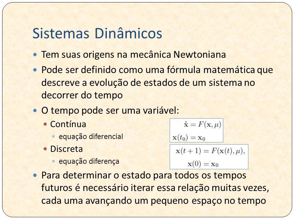 Sistemas Dinâmicos Tem suas origens na mecânica Newtoniana Pode ser definido como uma fórmula matemática que descreve a evolução de estados de um sistema no decorrer do tempo O tempo pode ser uma variável: Contínua equação diferencial Discreta equação diferença Para determinar o estado para todos os tempos futuros é necessário iterar essa relação muitas vezes, cada uma avançando um pequeno espaço no tempo