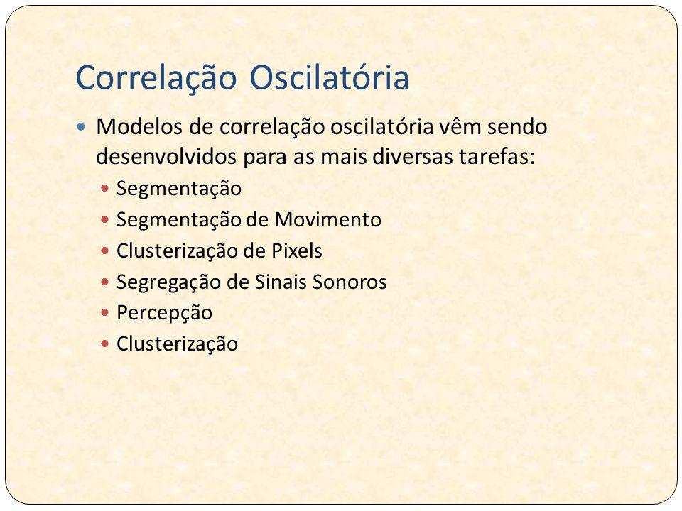 Correlação Oscilatória Modelos de correlação oscilatória vêm sendo desenvolvidos para as mais diversas tarefas: Segmentação Segmentação de Movimento Clusterização de Pixels Segregação de Sinais Sonoros Percepção Clusterização