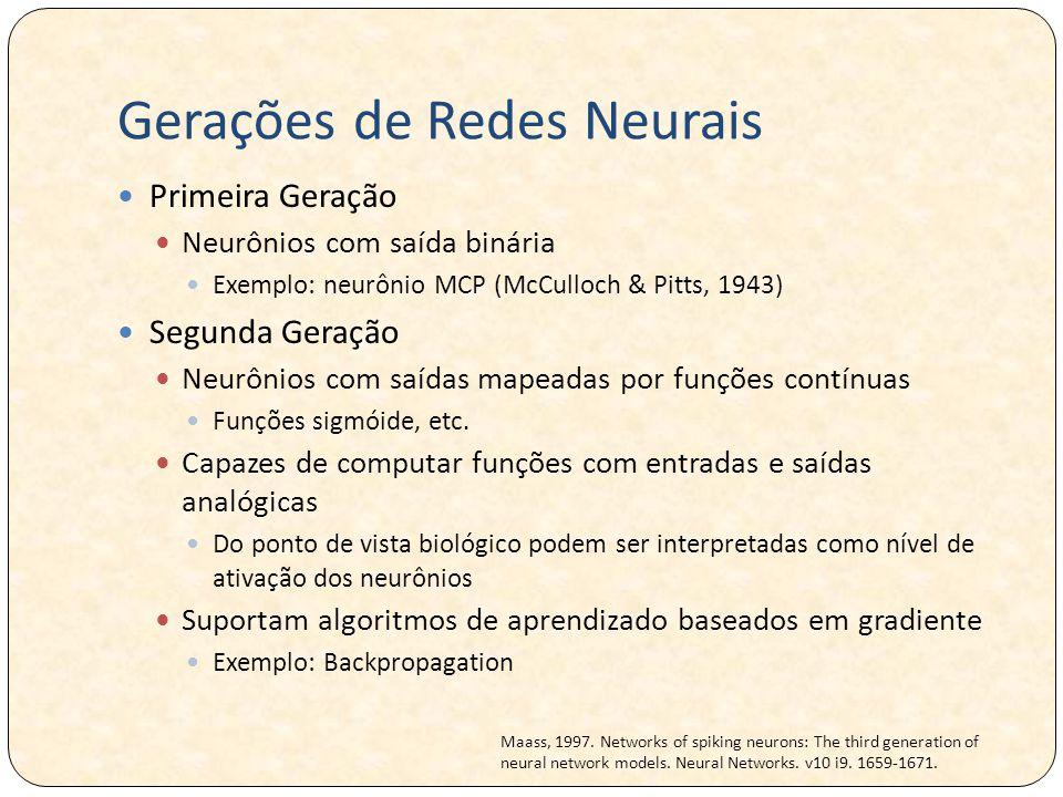 Gerações de Redes Neurais Terceira Geração Neurônios mais próximos do neurônio biológico Conhecidas como Redes Neurais Pulsadas (Spiking Neural Networks) Utilizam pulsos como saída Representação temporal através de pulsos gerados no tempo Modelos de redes diferem no tipo de neurônio com o qual são compostos.