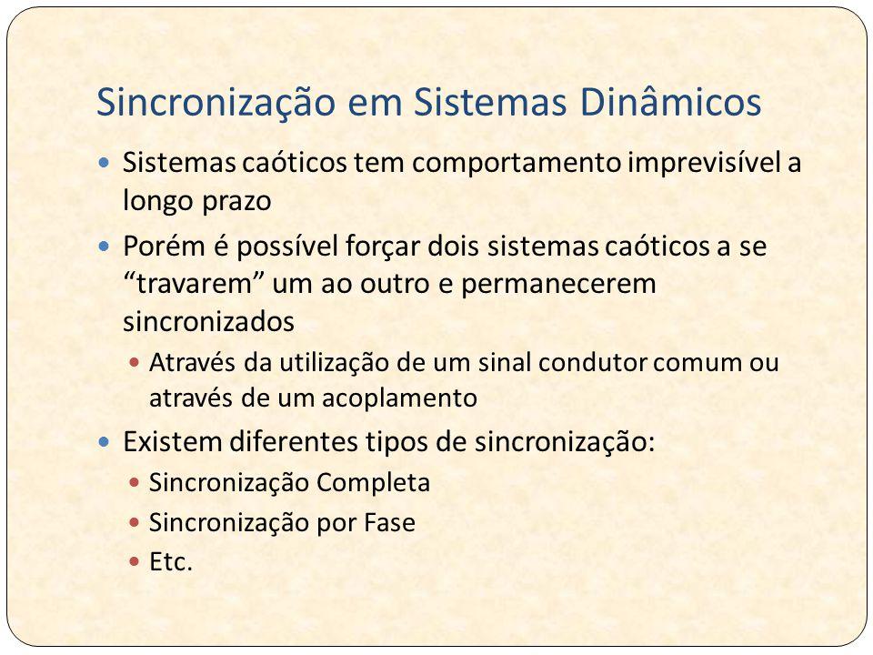 Sincronização em Sistemas Dinâmicos Sistemas caóticos tem comportamento imprevisível a longo prazo Porém é possível forçar dois sistemas caóticos a se travarem um ao outro e permanecerem sincronizados Através da utilização de um sinal condutor comum ou através de um acoplamento Existem diferentes tipos de sincronização: Sincronização Completa Sincronização por Fase Etc.