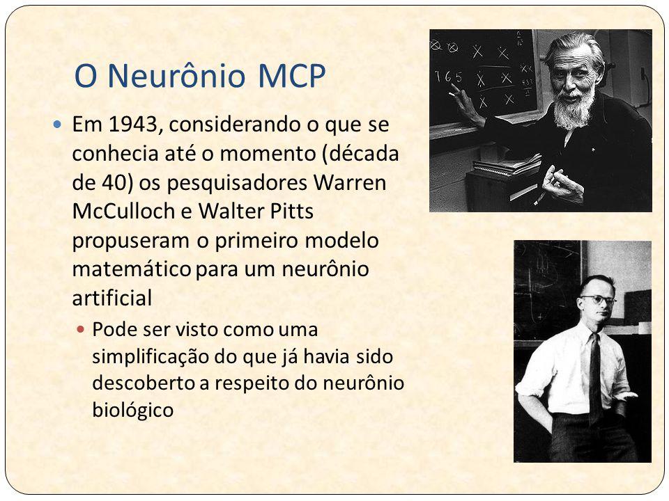 O Neurônio MCP Em 1943, considerando o que se conhecia até o momento (década de 40) os pesquisadores Warren McCulloch e Walter Pitts propuseram o primeiro modelo matemático para um neurônio artificial Pode ser visto como uma simplificação do que já havia sido descoberto a respeito do neurônio biológico