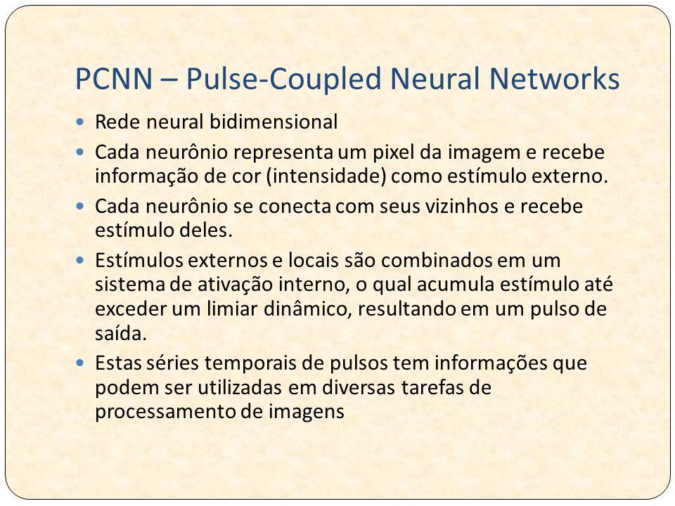PCNN – Pulse-Coupled Neural Networks Rede neural bidimensional Cada neurônio representa um pixel da imagem e recebe informação de cor (intensidade) como estímulo externo.