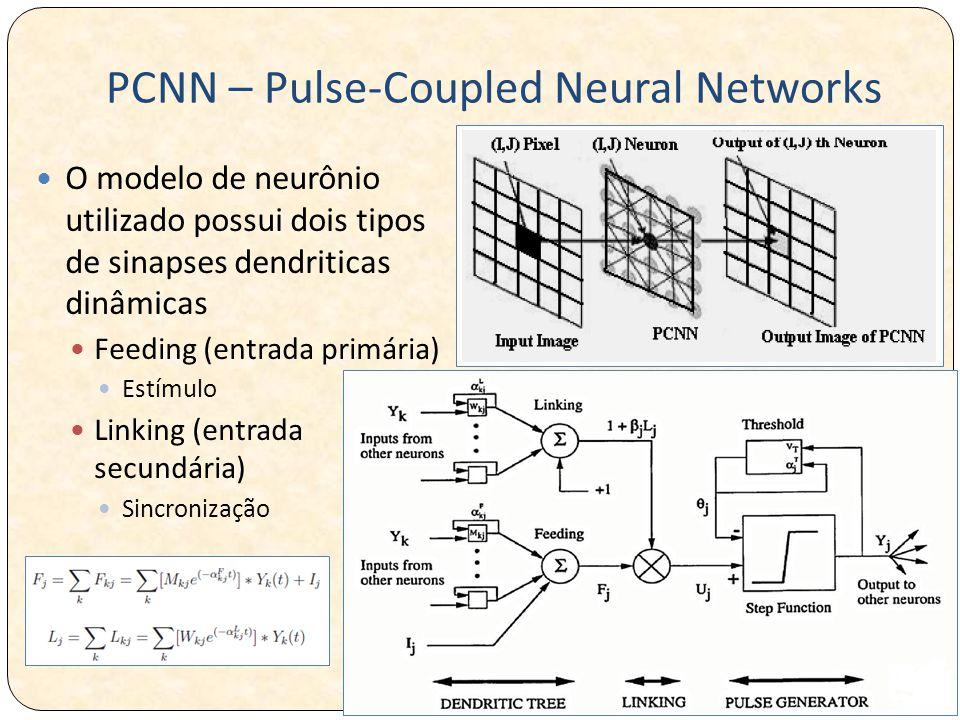 PCNN – Pulse-Coupled Neural Networks O modelo de neurônio utilizado possui dois tipos de sinapses dendriticas dinâmicas Feeding (entrada primária) Estímulo Linking (entrada secundária) Sincronização