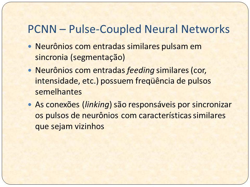 PCNN – Pulse-Coupled Neural Networks Neurônios com entradas similares pulsam em sincronia (segmentação) Neurônios com entradas feeding similares (cor, intensidade, etc.) possuem freqüência de pulsos semelhantes As conexões (linking) são responsáveis por sincronizar os pulsos de neurônios com características similares que sejam vizinhos