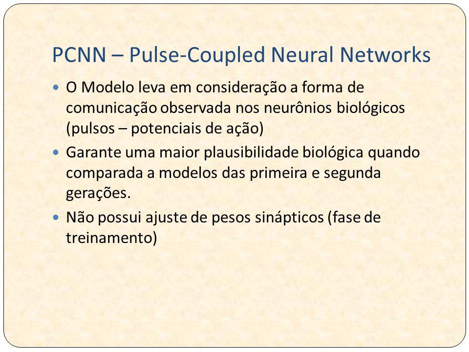 PCNN – Pulse-Coupled Neural Networks O Modelo leva em consideração a forma de comunicação observada nos neurônios biológicos (pulsos – potenciais de ação) Garante uma maior plausibilidade biológica quando comparada a modelos das primeira e segunda gerações.