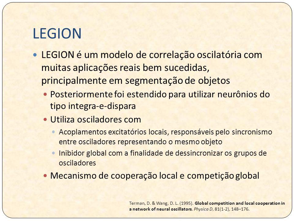 LEGION LEGION é um modelo de correlação oscilatória com muitas aplicações reais bem sucedidas, principalmente em segmentação de objetos Posteriormente foi estendido para utilizar neurônios do tipo integra-e-dispara Utiliza osciladores com Acoplamentos excitatórios locais, responsáveis pelo sincronismo entre osciladores representando o mesmo objeto Inibidor global com a finalidade de dessincronizar os grupos de osciladores Mecanismo de cooperação local e competição global Terman, D.