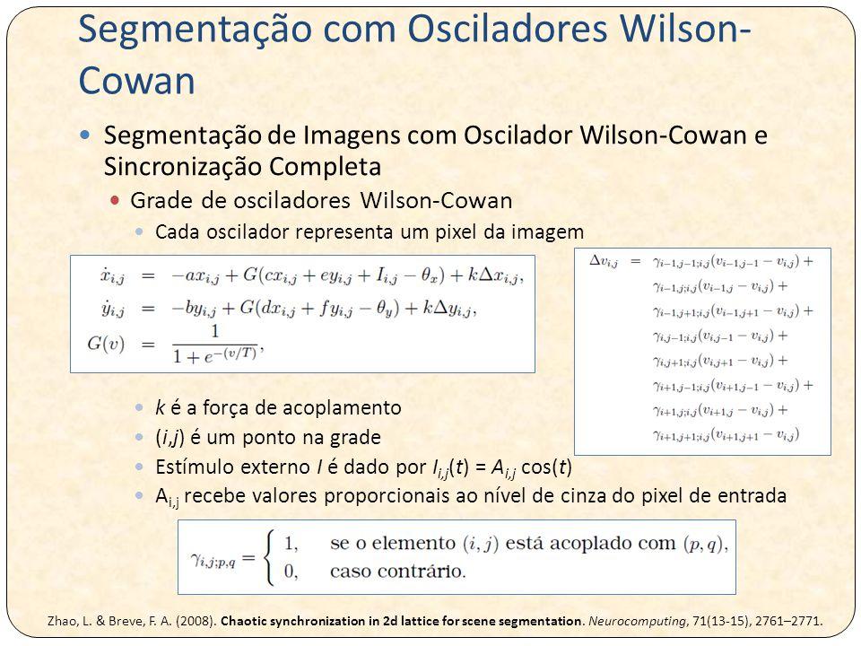 Segmentação com Osciladores Wilson- Cowan Segmentação de Imagens com Oscilador Wilson-Cowan e Sincronização Completa Grade de osciladores Wilson-Cowan Cada oscilador representa um pixel da imagem k é a força de acoplamento (i,j) é um ponto na grade Estímulo externo I é dado por I i,j (t) = A i,j cos(t) A i,j recebe valores proporcionais ao nível de cinza do pixel de entrada Zhao, L.