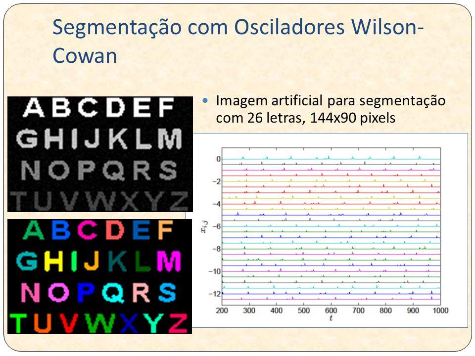 Segmentação com Osciladores Wilson- Cowan Imagem artificial para segmentação com 26 letras, 144x90 pixels