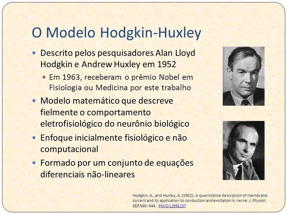 O Modelo Hodgkin-Huxley Descrito pelos pesquisadores Alan Lloyd Hodgkin e Andrew Huxley em 1952 Em 1963, receberam o prêmio Nobel em Fisiologia ou Medicina por este trabalho Modelo matemático que descreve fielmente o comportamento eletrofisiológico do neurônio biológico Enfoque inicialmente fisiológico e não computacional Formado por um conjunto de equações diferenciais não-lineares Hodgkin, A., and Huxley, A.