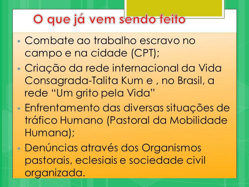 O estado brasileiro e o tráfico humano  Assinatura do Protocolo de Palermo (Texto base, 72)  Plano de Enfrentamento ao tráfico de Pessoas I e II  A criação da Comissão Parlamentar de Inquérito - CPI para investigar o tráfico de pessoas no país.