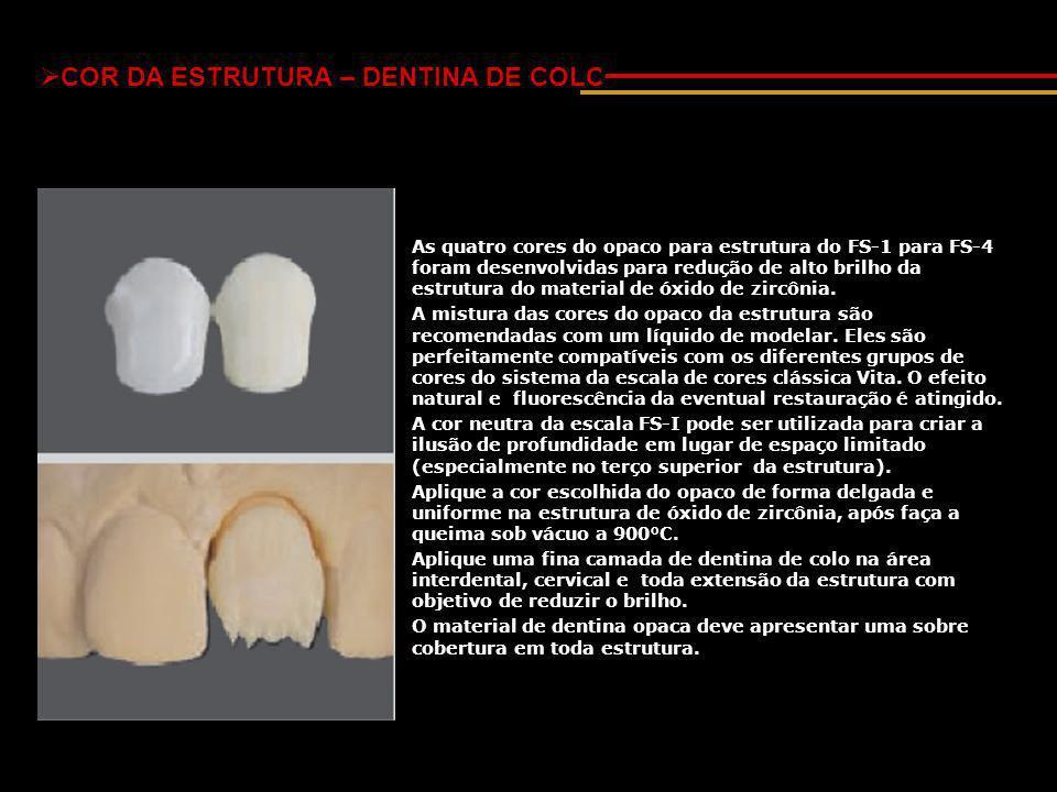  COR DA ESTRUTURA – DENTINA DE COLO As quatro cores do opaco para estrutura do FS-1 para FS-4 foram desenvolvidas para redução de alto brilho da estrutura do material de óxido de zircônia.