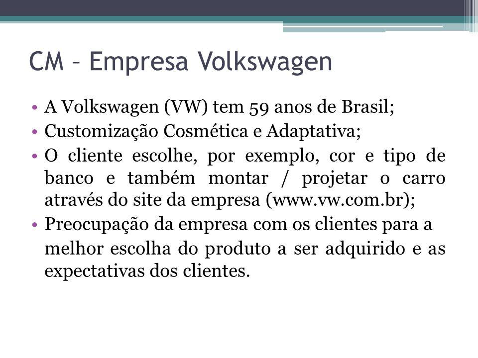 CM – Empresa Volkswagen A Volkswagen (VW) tem 59 anos de Brasil; Customização Cosmética e Adaptativa; O cliente escolhe, por exemplo, cor e tipo de ba